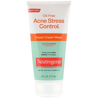 Neutrogena, Ölfreie Akne-Stresskontrolle, Power-Cream Wash, 177 ml (6 fl oz)