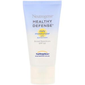 НьютроДжина, Healthy Defense, Daily Moisturizer with Sunscreen, Broad Spectrum SPF 50, 1.7 fl oz (50 ml) отзывы