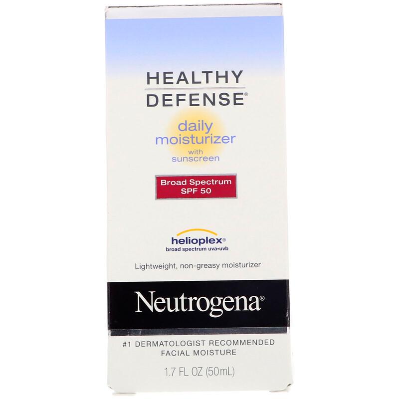Neutrogena, Healthy Defense, Daily Moisturizer with Sunscreen, Broad Spectrum SPF 50, 1.7 fl oz (50 ml) - photo 1