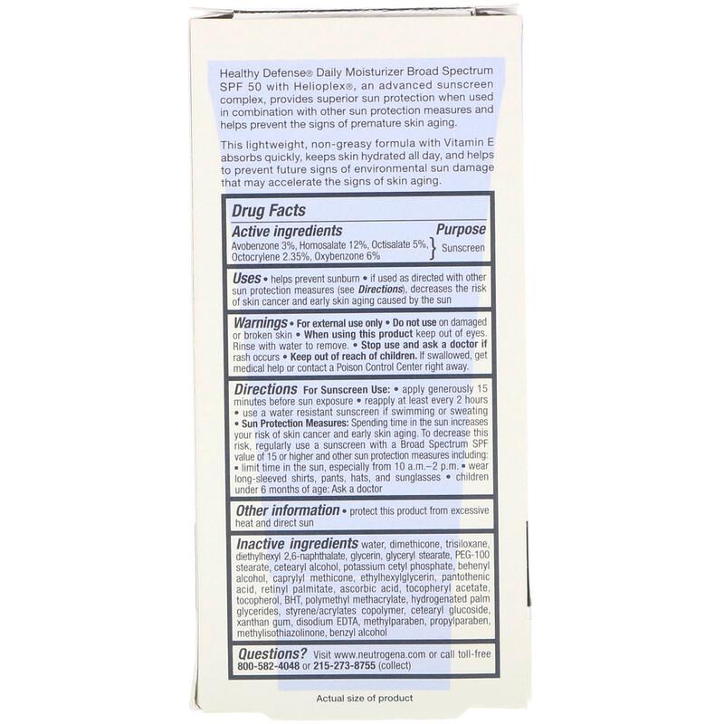 Neutrogena, Healthy Defense, Daily Moisturizer with Sunscreen, Broad Spectrum SPF 50, 1.7 fl oz (50 ml) - photo 2