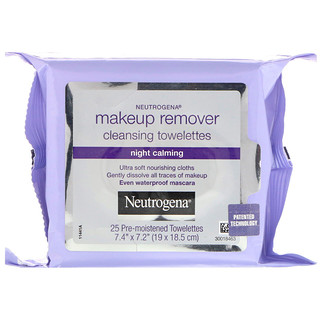 Neutrogena, Makeup Remover Cleansing Towelettes, Night Calming, 25 Pre-Moistened Towelettes