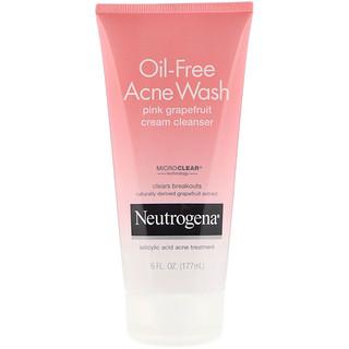Neutrogena, Oil-Free Acne Wash, Pink Grapefruit Cream Cleanser, 6 fl oz (177 ml)