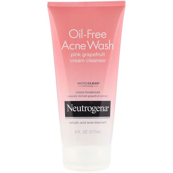 Neutrogena, Limpeza para Acne Sem Óleo, Produto de Limpeza Cremoso de Toranja Rosa, 6 fl oz (177 ml)