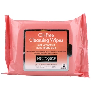 Neutrogena, Oil-Free Cleansing Wipes, Pink Grapefruit, 25 Pre-Moistened Towelettes