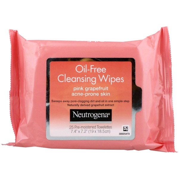 Neutrogena, Oil-Free Cleansing Wipes, Pink Grapefruit, 25 Pre-Moistened Towelettes (Discontinued Item)