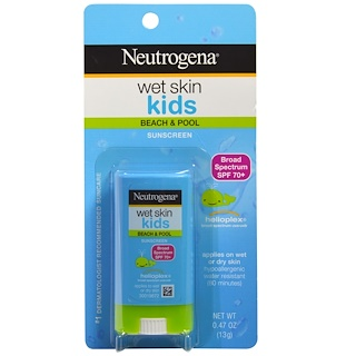 Neutrogena, Wet Skin Kids, Beach & Pool Stick Sunscreen, SPF  70+, 0.47 oz (13 g)
