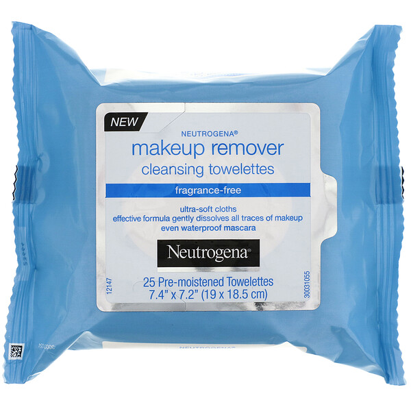 Makeup Remover Cleansing Towelettes, Fragrance-Free, 25 Pre-Moistened Towelettes