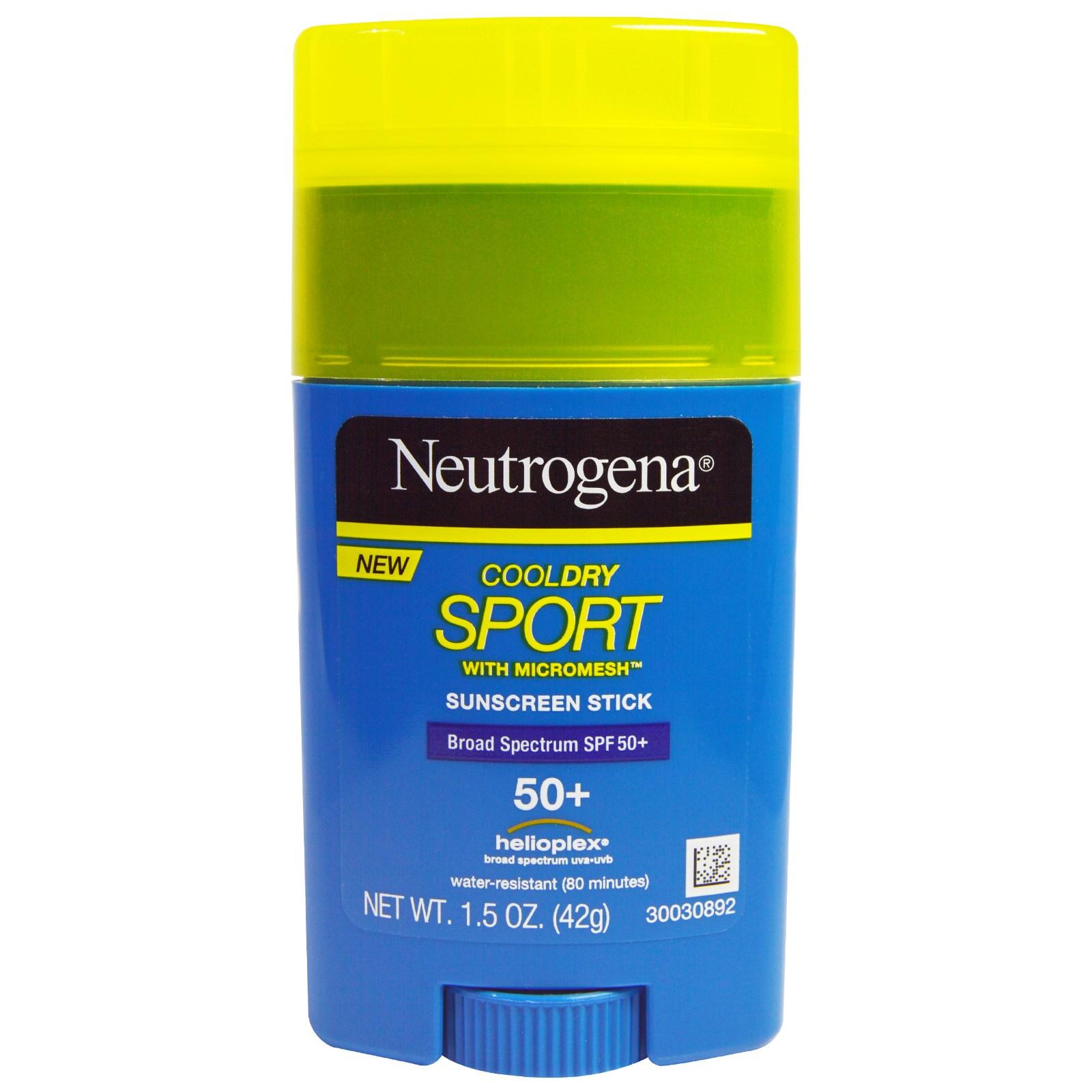 Neutrogena, Карандаш-солнцезащитный крем «Кул Драй Спорт» с микросеткой, фактор защиты от солнца SPF 50+, 1,5 жидк. унц. (42 мл)