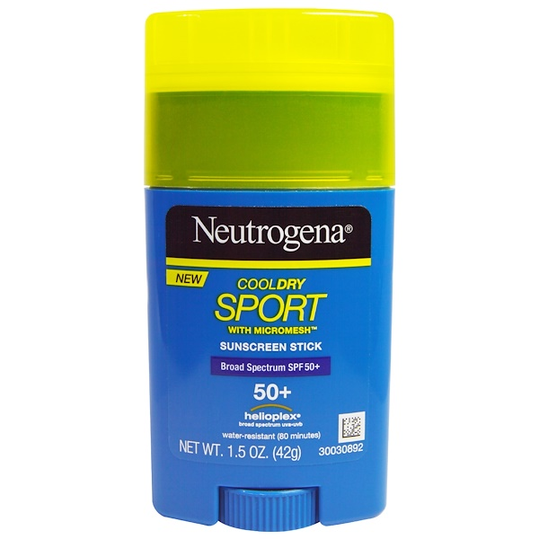 Neutrogena, CoolDry Sport with Micromesh Suncsreen Stick, SPF 50+, 1.5 oz (42 g) (Discontinued Item)