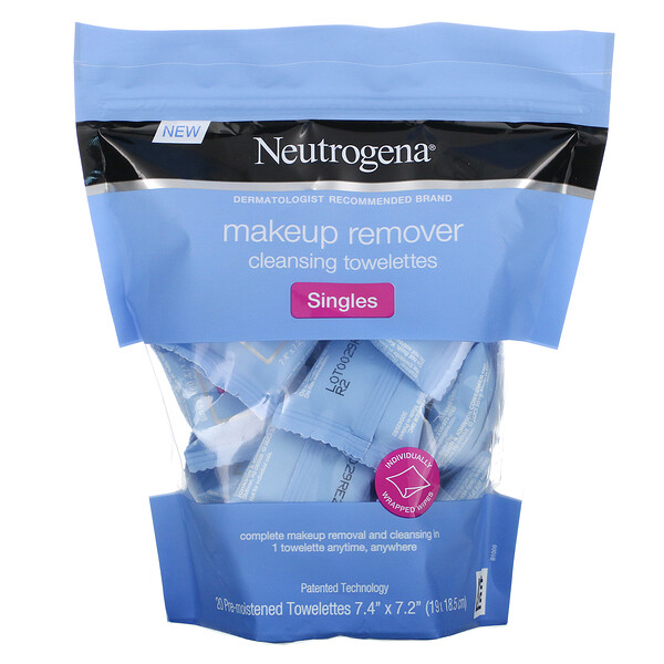 Neutrogena, Makeup Remover Cleansing Towelettes, Singles, 20 Pre-Moistened Towelettes