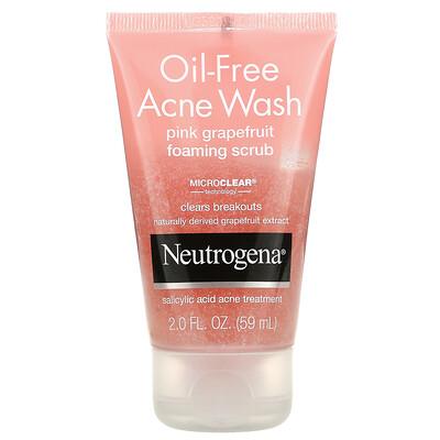 Neutrogena Oil-Free Acne Wash, Pink Grapefruit Foaming Scrub, 2 fl oz (59 ml)