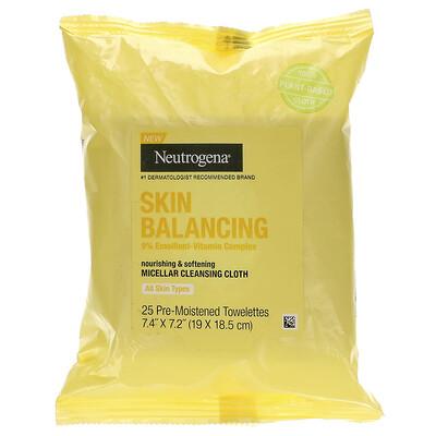 Купить Neutrogena Skin Balancing, Micellar Cleansing Cloth, 25 Pre-Moistened Towelettes