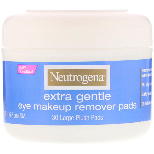 Extra Gentle, Eye Makeup Remover Pads, 30 Large Plush Pads
