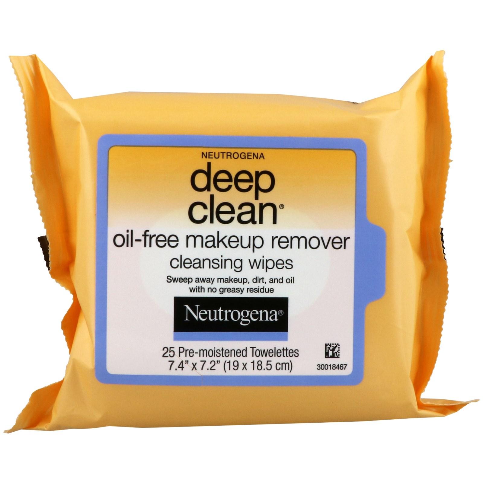 Neutrogena, Глубокое очищение, Очищающие салфетки без жира для снятия макияж, 25 салфеток