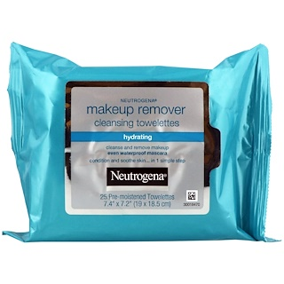 Neutrogena, Makeup Remover Cleansing Towelettes, Hydrating, 25 Pre-Moistened Towelettes