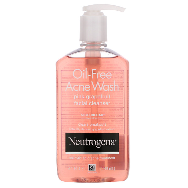 Neutrogena, Oil-Free Acne Wash, Pink Grapefruit Facial Cleanser, 9.1 fl oz (269 ml)