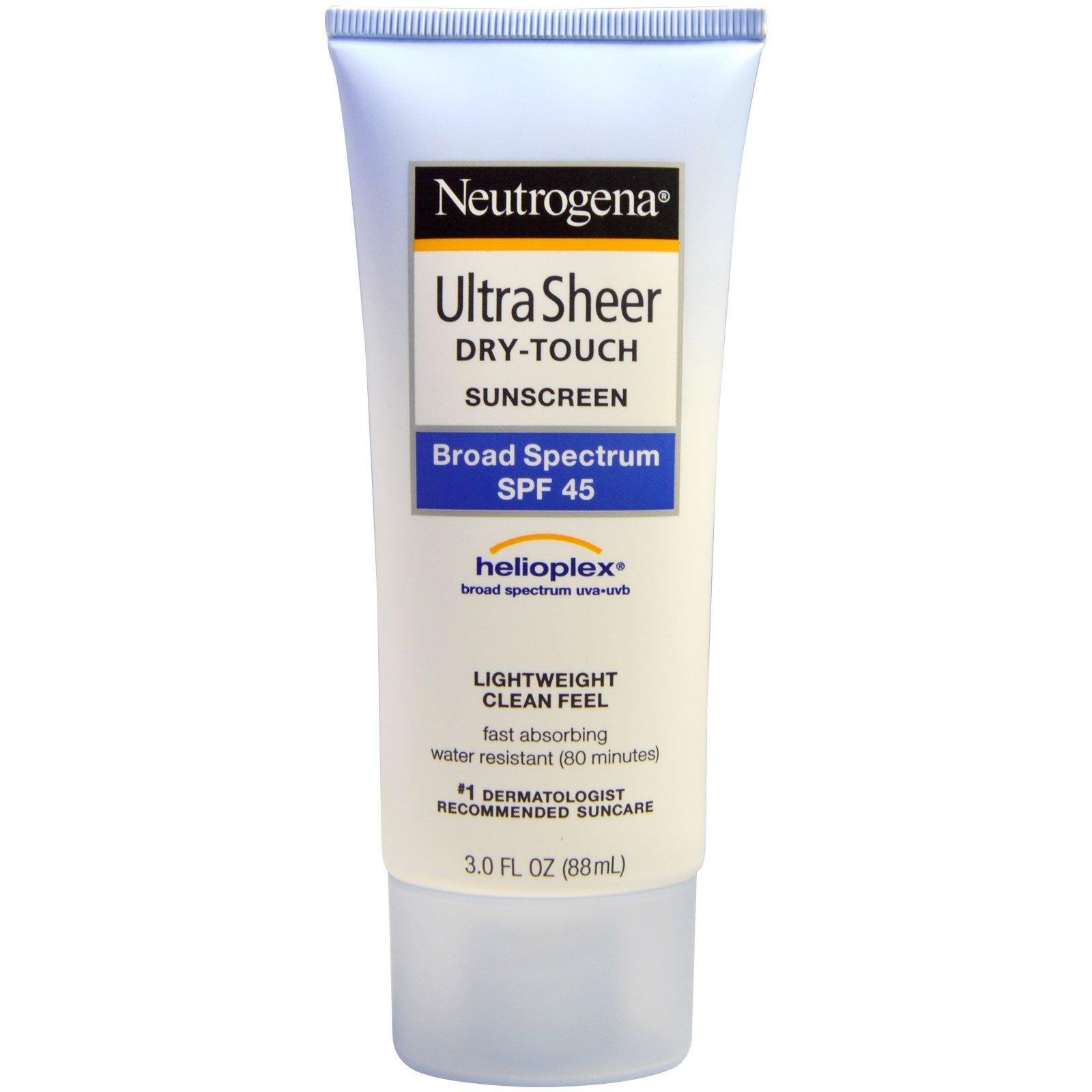 Neutrogena, Ультратонкий, сухой на ощупь солнцезащитный крем, фактор защиты от солнца SPF 45, 3 жидк. унц. (88 мл)