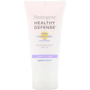 НьютроДжина, Healthy Defense, Daily Moisturizer with Sunscreen, Broad Spectrum SPF 50, Sensitive Skin, 1.7 fl oz (50 ml) отзывы покупателей