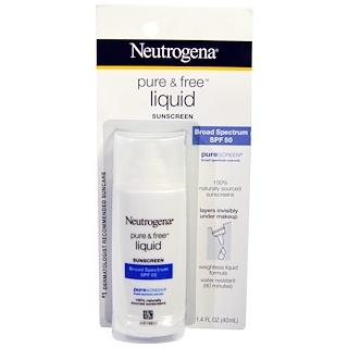 Neutrogena, Protetor Solar Líquido Puro e Livre, FPS 50, 40 ml