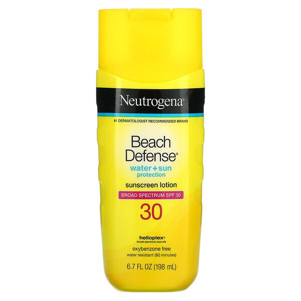 Neutrogena, Beach Defense, Water + Sun Protection, Sunscreen Lotion, SPF 30, 6.7 fl oz (198 ml)