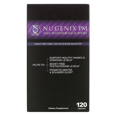Nugenix ZMA Testosterone Booster, Nightime Free Testosterone Booster, 120 Capsules