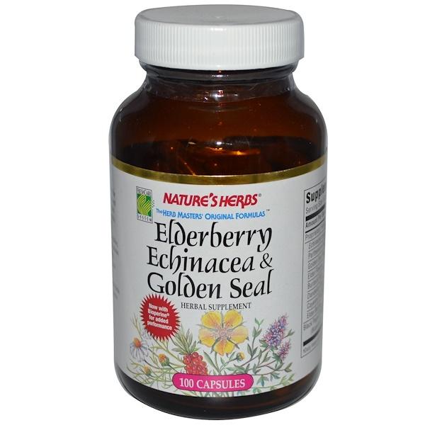 Nature's Herbs, Elderberry Echinacea & Golden Seal, 100 Capsules  (Discontinued Item)