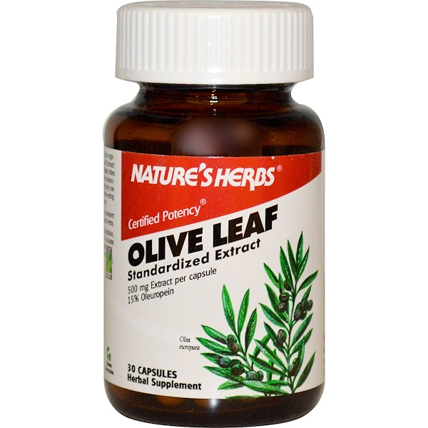 Nature's Herbs, Olive Leaf, Standardized Extract, 500 mg, 30 Capsules (Discontinued Item)