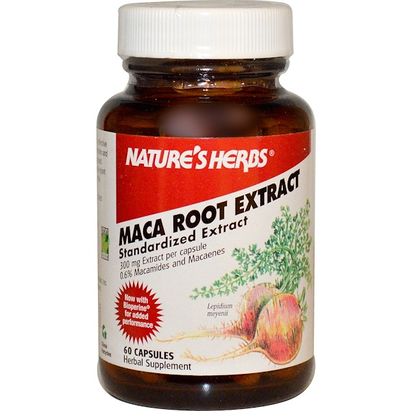 Nature's Herbs, Maca Root Extract, 300 mg, 60 Capsules (Discontinued Item)