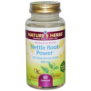 Nature's Herbs, Nettle Root-Power, 300 mg, 60 Capsules
