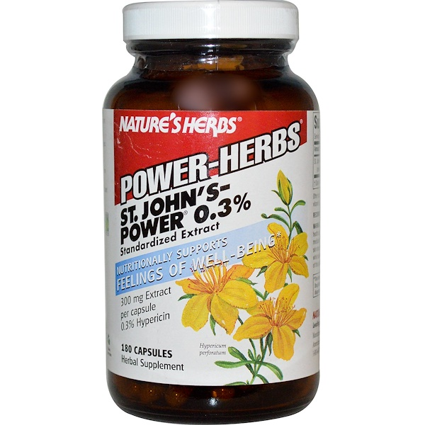 Nature's Herbs, Power Herbs, St. John's Power 0.3%, 180 Capsules (Discontinued Item)
