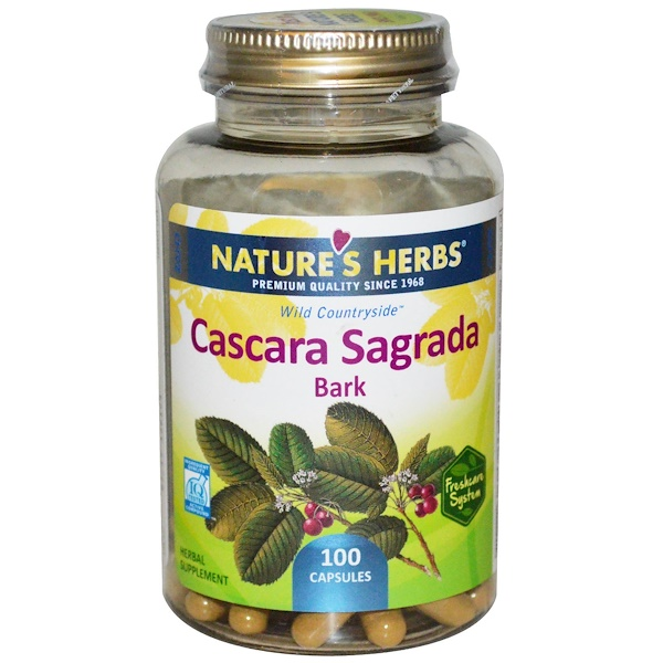 Nature's Herbs, Cascara Sagrada Bark, 100 Capsules