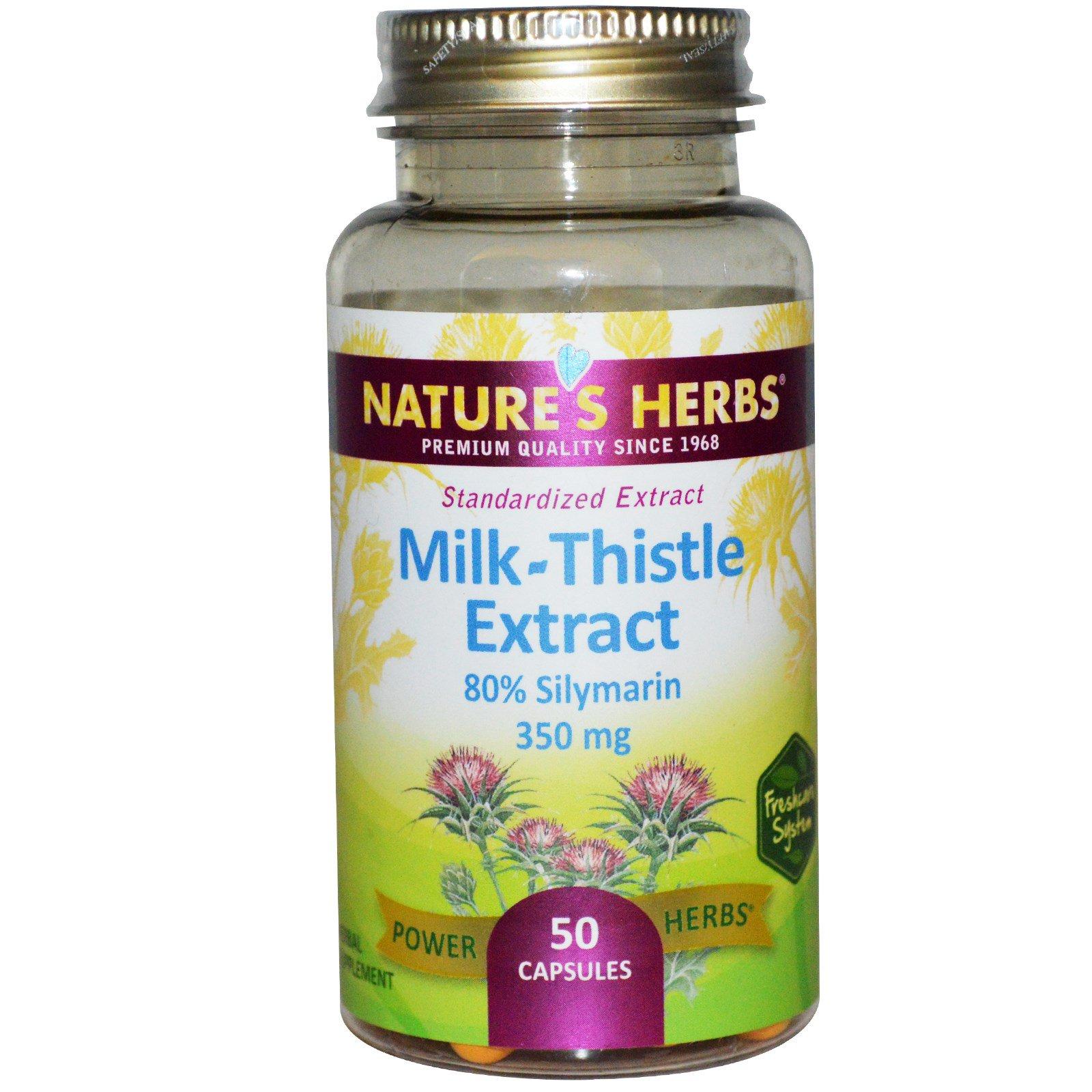 Nature's Herbs, Экстракт молочного чертополоха, 350 мг, 50 капсул