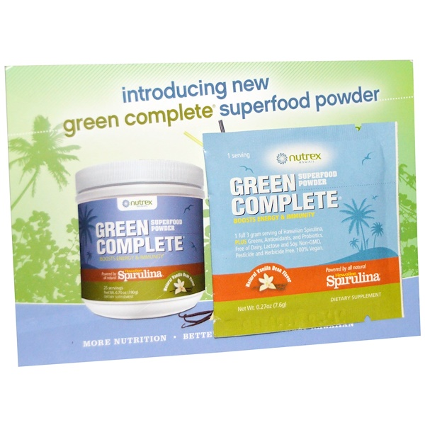 Nutrex Hawaii, Green Complete, Superfood Powder, Natural Vanilla Bean Flavor, 1 Pack, 0.27 oz (7.6 g) (Discontinued Item)