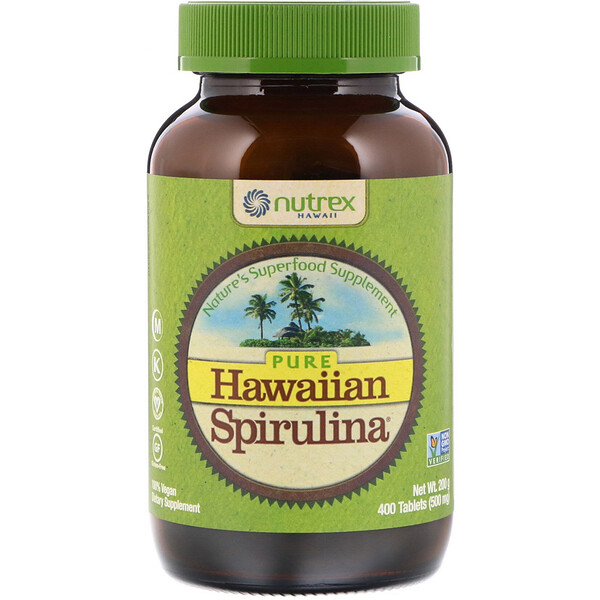 Nutrex Hawaii, Pure Hawaiian Spirulina, 500 mg, 400 Tablets (200 g)