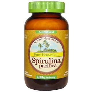 Nutrex Hawaii, Pure Hawaiian Spirulina Pacifica, Nature's Multi-Vitamin, 1,000 mg, 180 Tablets