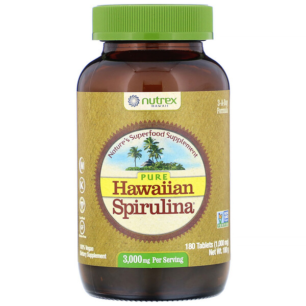 Nutrex Hawaii, Pure Hawaiian Spirulina, 3,000 mg Per Serving, 180 Tablets