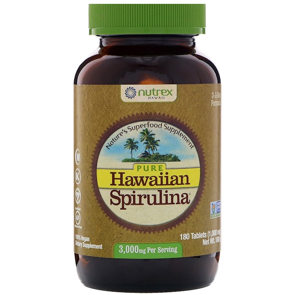 Nutrex Hawaii, Pura Espirulina do Havaí, 3.000 mg, 180 tabletes