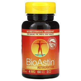 Nutrex Hawaii, BioAstin, Astaxanthine hawaïenne, 4mg, 60capsules à enveloppe molle