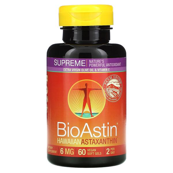 BioAstin(バイオアスチン)Supreme(スプリーム)、6mg、ビーガンソフトジェル60粒