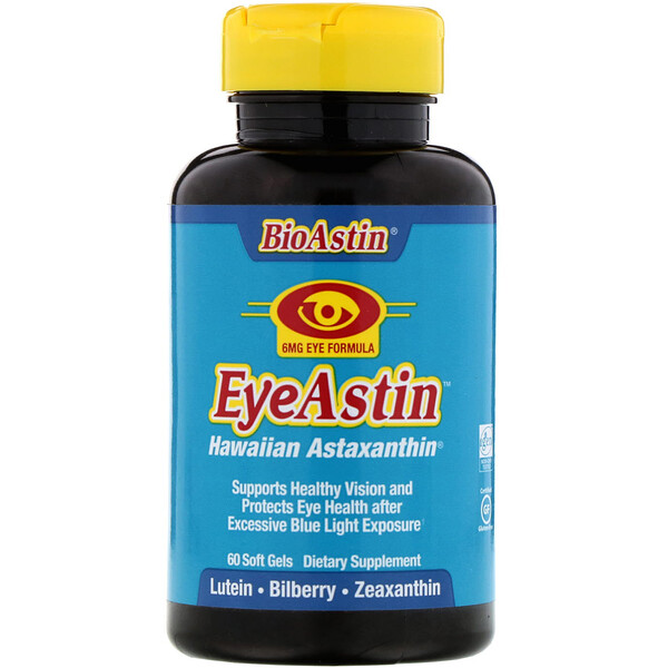 Nutrex Hawaii, BioAstin, EyeAstin, Hawaiian Astaxanthin, 6 mg, 60 Softgels