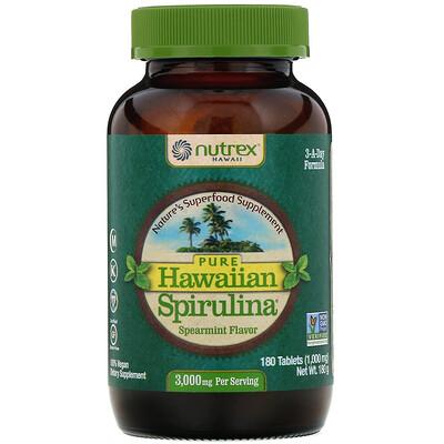 Nutrex Hawaii Pure Hawaiian Spirulina, колосистая мята, 1000мг, 180таблеток