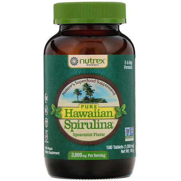 Nutrex Hawaii, Pure Hawaiian Spirulina, Spearmint, 1,000 mg, 180 Tablets