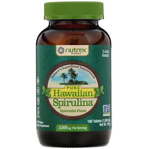 Нутрекс Хауайи, Pure Hawaiian Spirulina, Spearmint, 1,000 mg, 180 Tablets отзывы покупателей