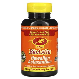 Nutrex Hawaii, BioAstin, Astaxanthine hawaïenne, 12mg, 75capsules à enveloppe molle
