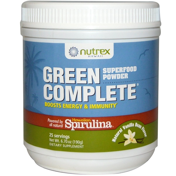 Nutrex Hawaii, Green Complete Powder, Natural Vanilla Bean, 6.70 oz (190 g) (Discontinued Item)