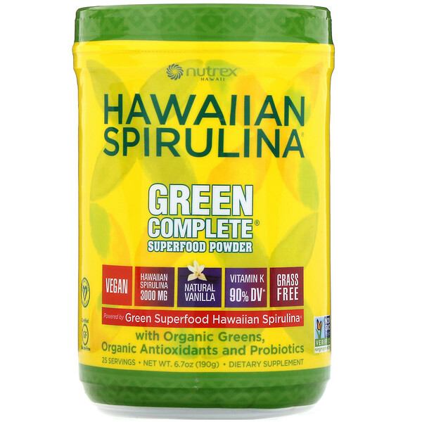 Nutrex Hawaii, Hawaiian Spirulina, Green Complete Superfood Powder, Natural Vanilla, 6.70 oz (190 g)