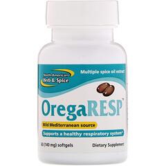 North American Herb & Spice, OregaResp, 140 mg, 60 粒軟膠囊