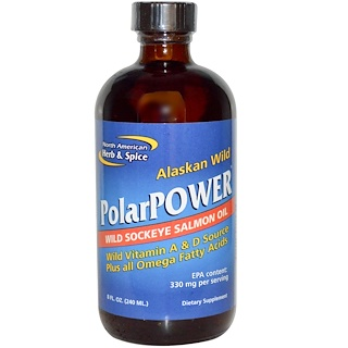 North American Herb & Spice Co., Alaskan Wild PolarPower, Wild Sockeye Salmon Oil, 8 fl oz (240 ml)