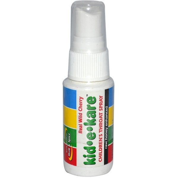 North American Herb & Spice, Kid·e·Kare, Children's Throat Spray, Real Wild Cherry, 1 fl oz (Discontinued Item)