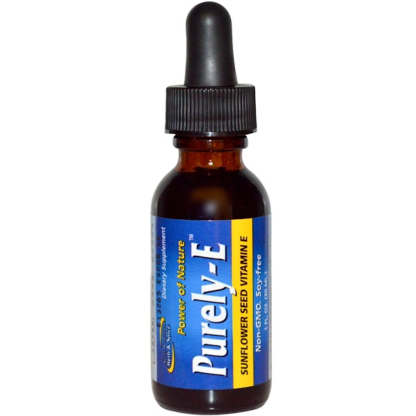 North American Herb & Spice, Purely-E, Sunflower Seed Vitamin E, 1 fl oz (30 ml) (Discontinued Item)